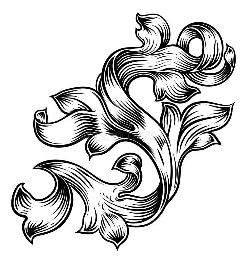 De Wapenkundeontwerp van het rol Bloemen Filigraanpatroon vector illustratie