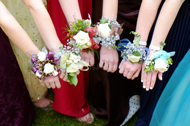 De Wapens van de meisjesholding uit met Corsagebloemen voor Prom stock fotografie