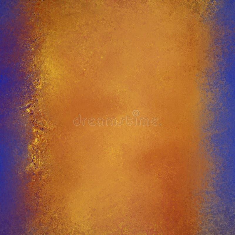 De warme gouden rode en oranje kleuren op abstracte achtergrond met heldere blauwe grenzen en flecked grunge textuur royalty-vrije illustratie