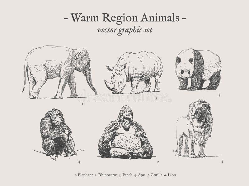 De warme reeks van de de dieren uitstekende illustratie van het gebied vector illustratie