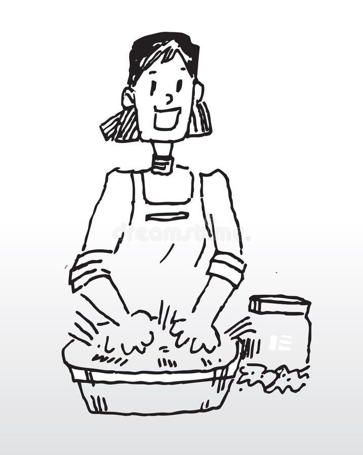 De wasdoek van de hand stock illustratie