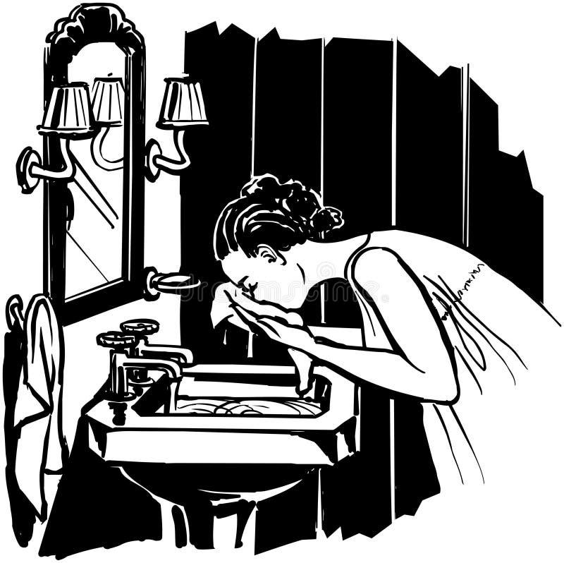 De wasgezicht van de vrouw vector illustratie
