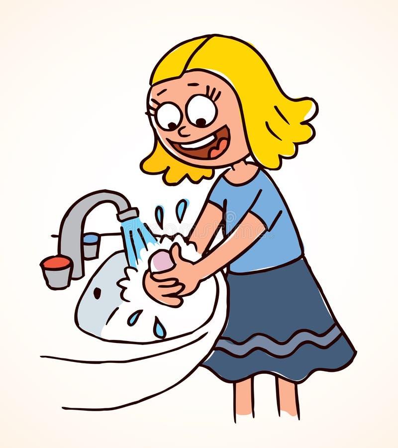 De washanden van het meisje stock illustratie
