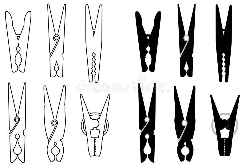 De wasknijpers of de wasknijper silhouetteren - bevestigingsmiddel wordt gebruikt om kleren omhoog te hangen voor het drogen, gew vector illustratie
