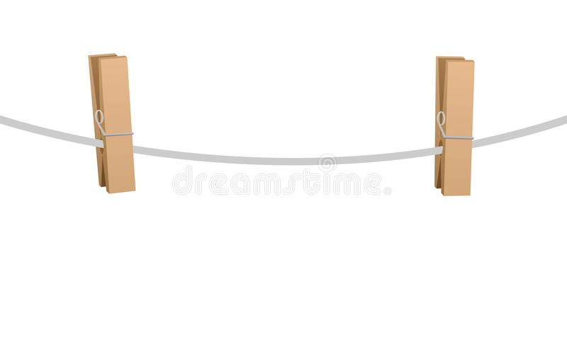 De Waslijnkabel van twee Wasknijpers Houten Pinnen vector illustratie
