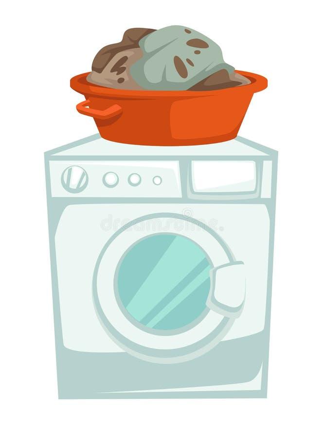De wasmachine en de vuile kleren in bassin isoleerden elektrisch toestel royalty-vrije illustratie