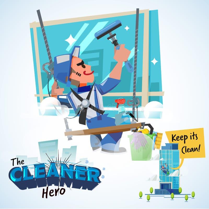 De wasmachinesmens wast de vensters van wolkenkrabber schoonmakende held concep vector illustratie