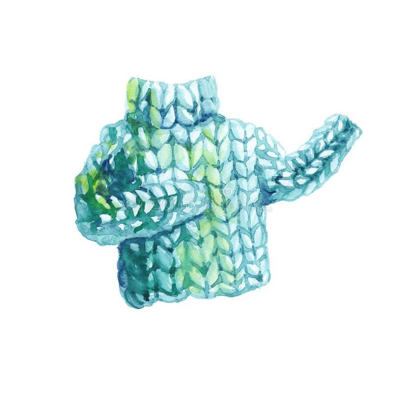 De Watercolourhand schilderde groene gebreide sweater vector illustratie