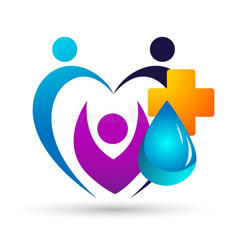 De waterdaling bewaart van het de mensenleven van de waterbol het concept van het de zorgembleem van het wellnesssymbool van de w stock illustratie