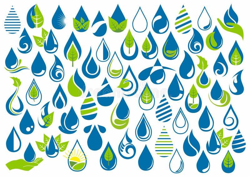 De waterdaling, het embleem, de handzorg, de tuin, de aard, de olie, gezond, de ecologie en het watersymbool ontwerpen pictogramr royalty-vrije illustratie