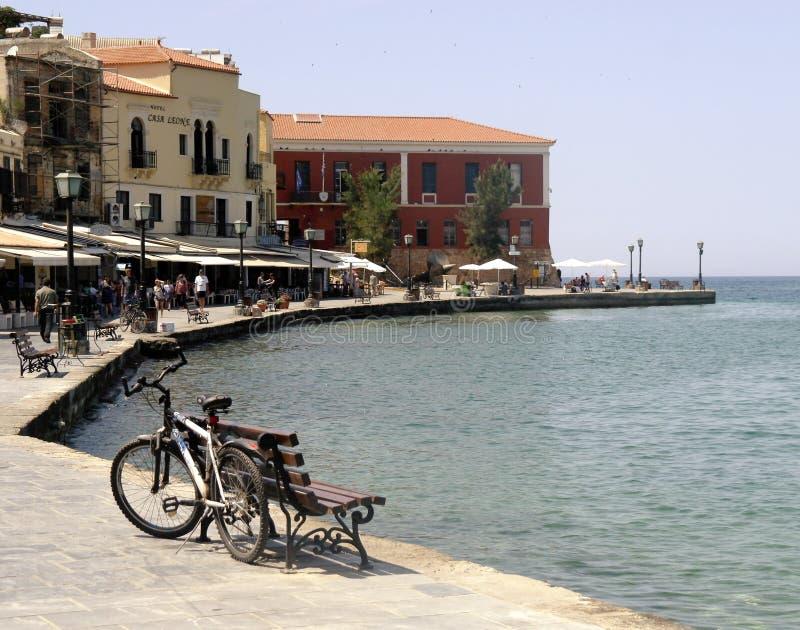 De Waterkant van Chania Het Eiland Kreta, Griekenland royalty-vrije stock afbeelding