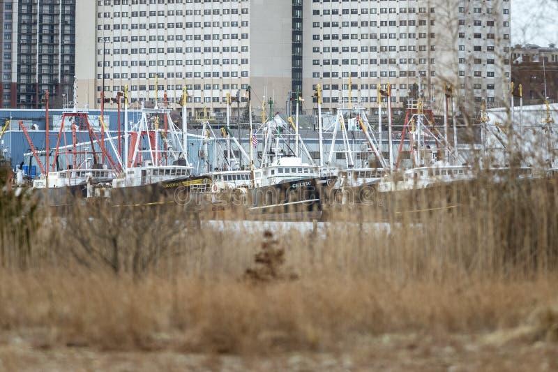 De waterkant van New Bedford en de stad in stock afbeelding