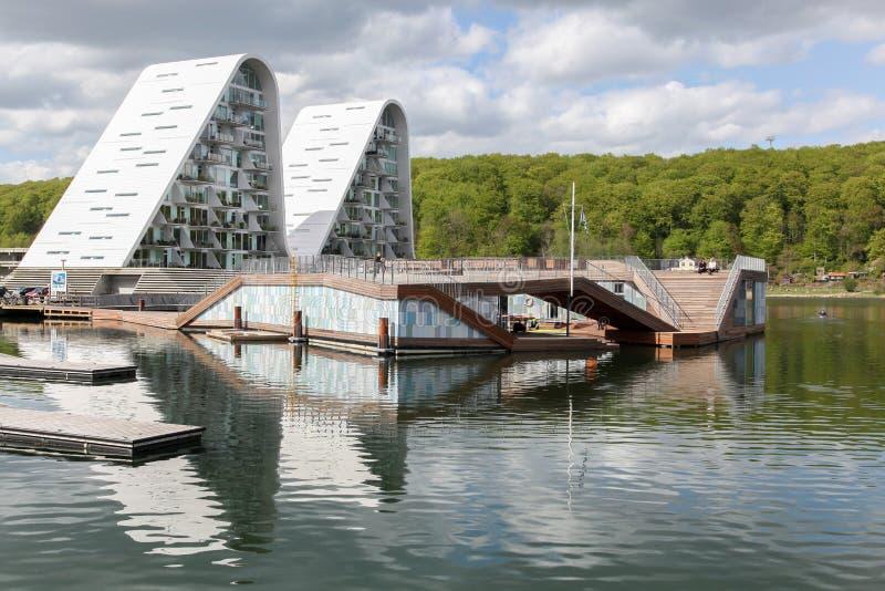 De waterkant van Vejle in Denemarken stock foto's