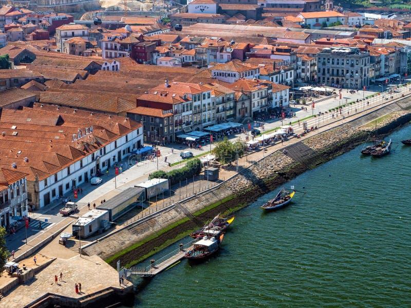 De waterkant, Vila Nova de Gaia, Portugal stock fotografie
