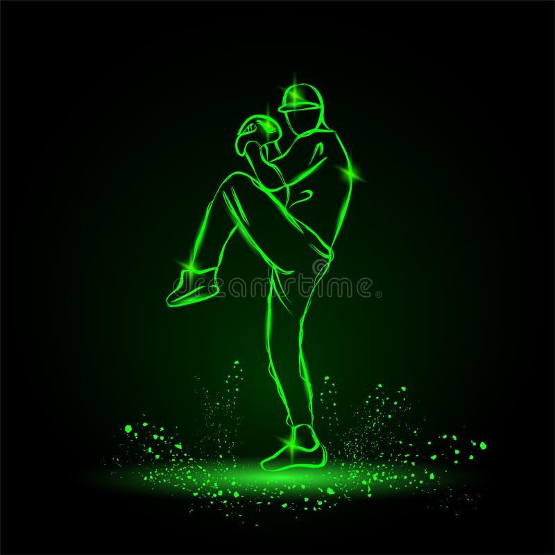 De waterkruik van de honkbalspeler met been die klaar om bal te werpen opstaan De stijl van het neon royalty-vrije illustratie