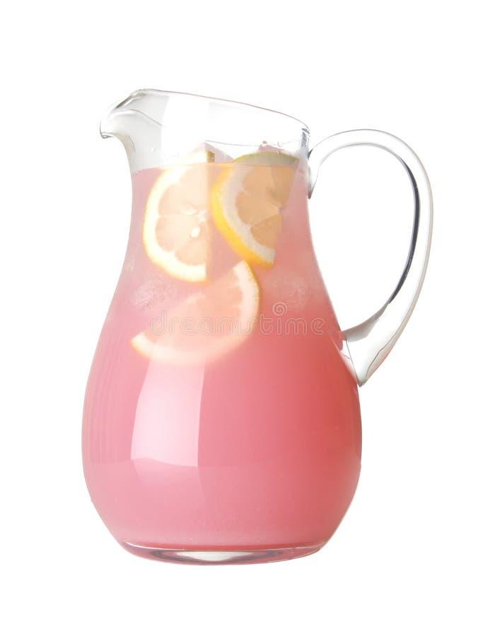 De Waterkruik van het glas Roze Geïsoleerder Limonade royalty-vrije stock afbeelding