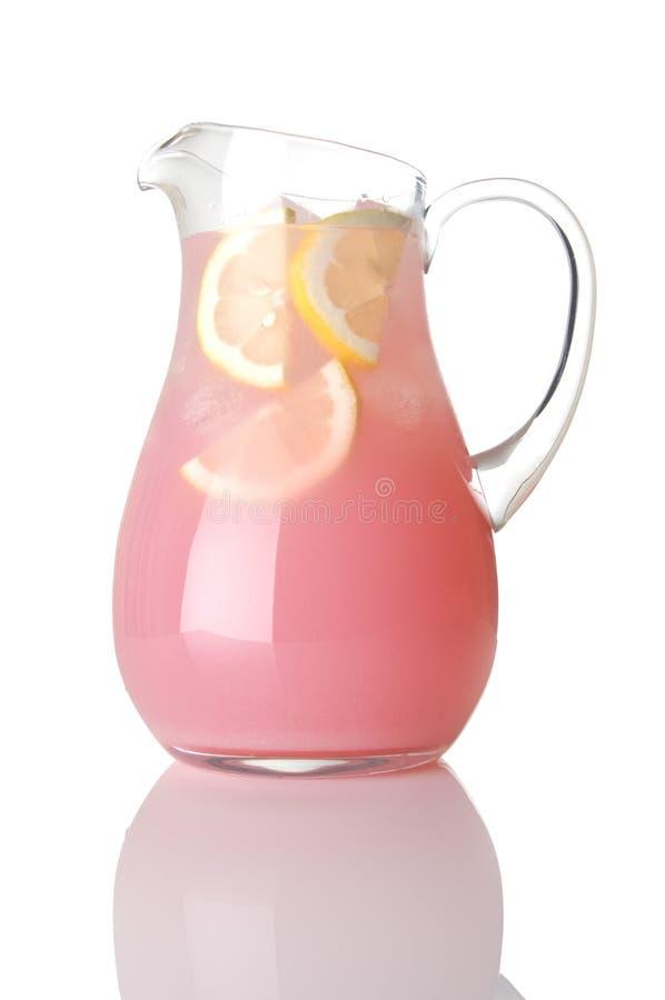 De Waterkruik van het glas Roze Limonade royalty-vrije stock afbeelding