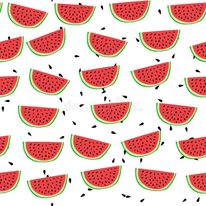 De watermeloen naadloos patroon van de beeldverhaalstijl Vector illustratie stock illustratie