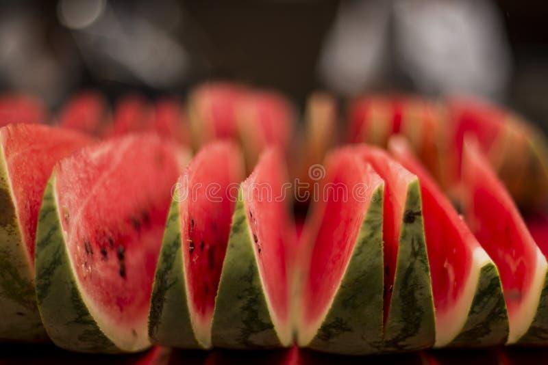 De watermeloen snijdt macroschot royalty-vrije stock foto