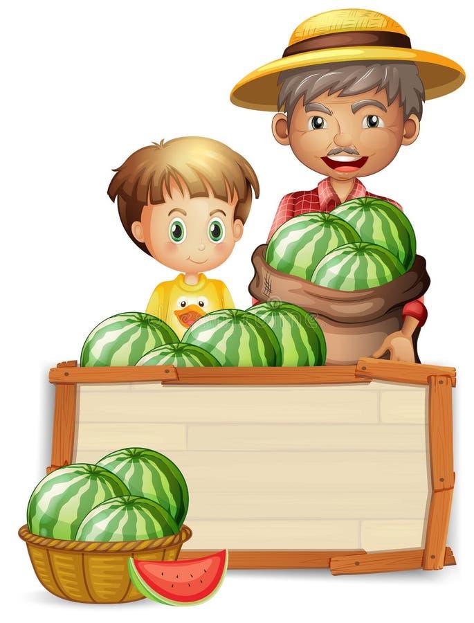 De watermeloen van de landbouwersholding op banner vector illustratie