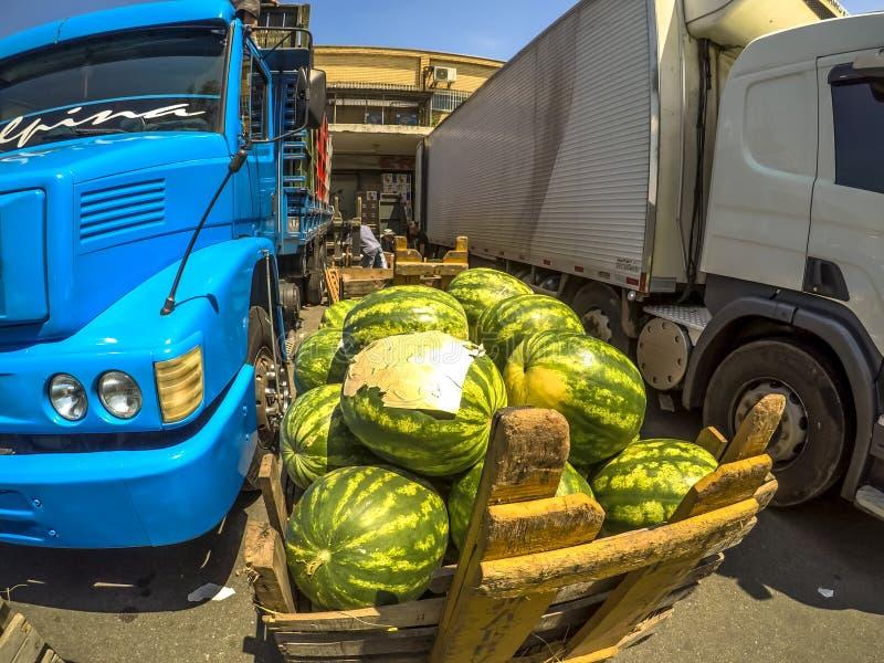 De watermeloenen worden leeggemaakt van een vrachtwagen in de binnenplaats van ceagesp, het grootste pakhuis van vruchten en groe stock afbeelding