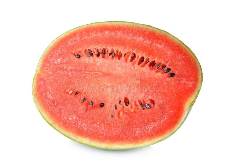 De watermeloenhelft met zaad op wit wordt gesneden dat stock afbeeldingen