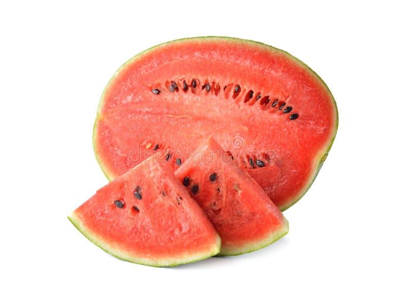 De watermeloenhelft met zaad op wit wordt gesneden dat stock foto
