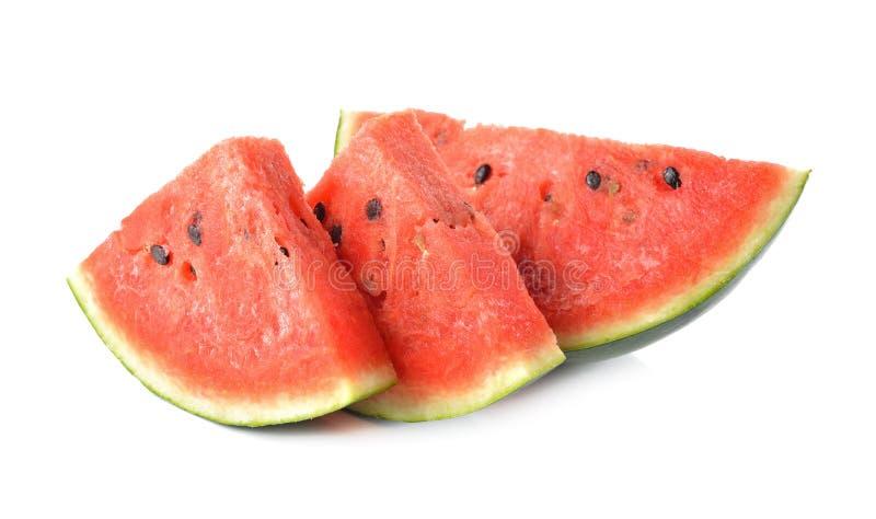 De watermeloenhelft met zaad op wit wordt gesneden dat royalty-vrije stock foto's