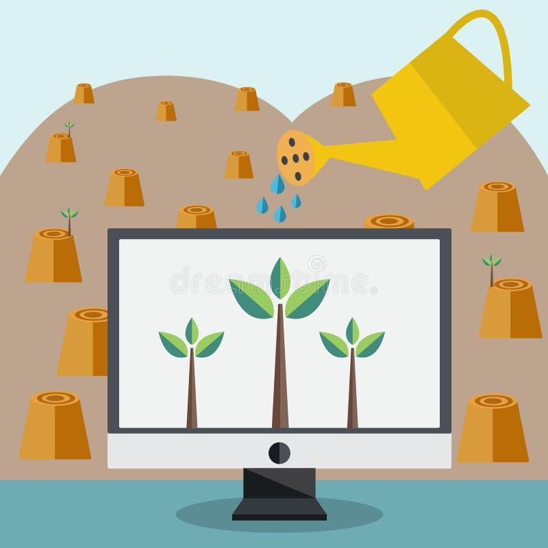 De waterplant in Monitor bewaart de Wereld vector illustratie