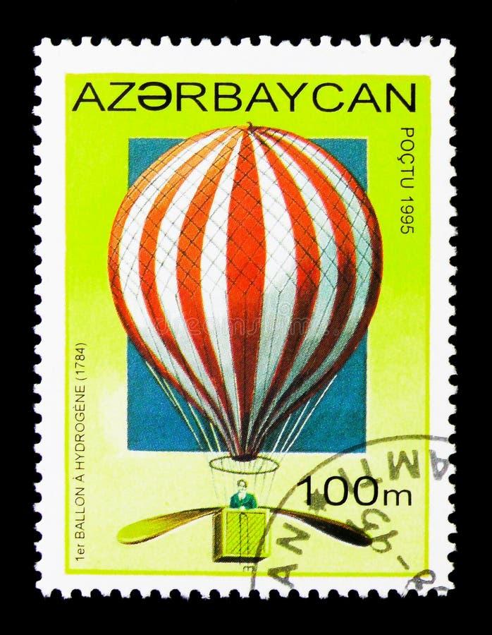 De waterstofballon van Charles \ 's, 1783, Geschiedenis van Luchtschepen serie, cir royalty-vrije stock afbeeldingen