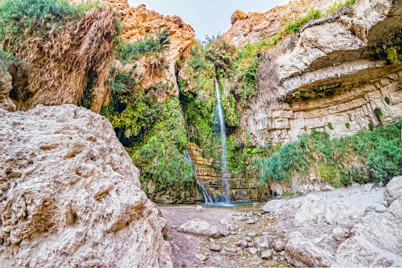 De waterval van David ` s bij het Natuurreservaat van Ein Gedi royalty-vrije stock afbeeldingen