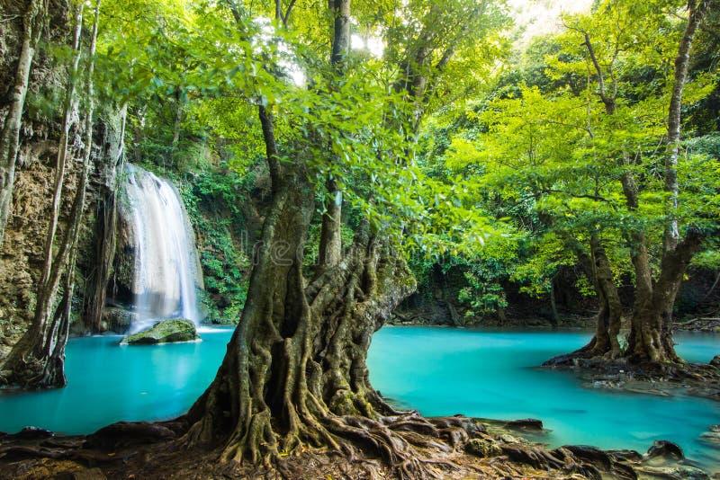 De Waterval van Erawan in Kanchanaburi, Thailand royalty-vrije stock afbeelding