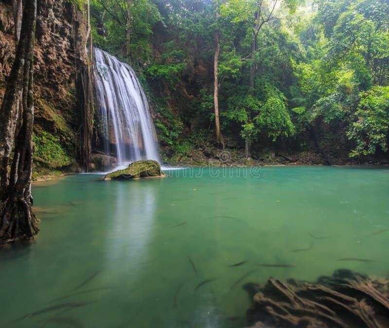 De waterval van Erawan, Thailand stock afbeelding