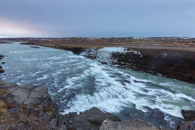 De waterval van de Golf in IJsland royalty-vrije stock foto's