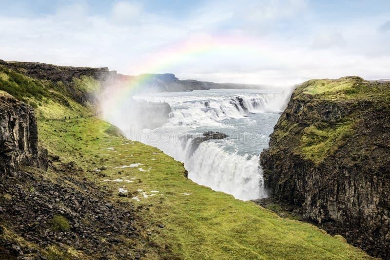 De waterval van Gullfoss in IJsland royalty-vrije stock afbeelding