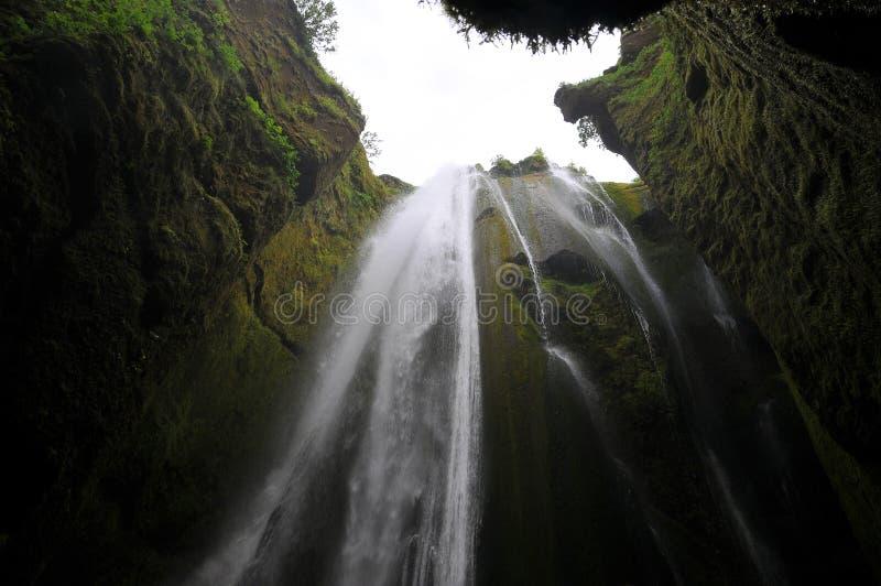 De waterval van IJsland in canion royalty-vrije stock afbeelding