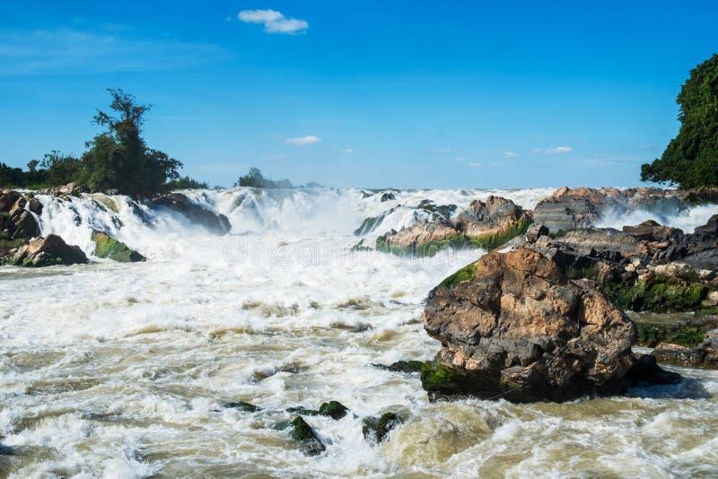De Waterval van Khonephapheng, Don Khong, Loas stock foto's