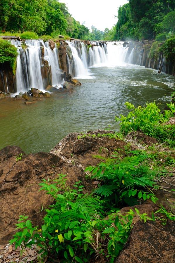 De waterval van Pha Suam van Tad, champasak, Laos royalty-vrije stock fotografie