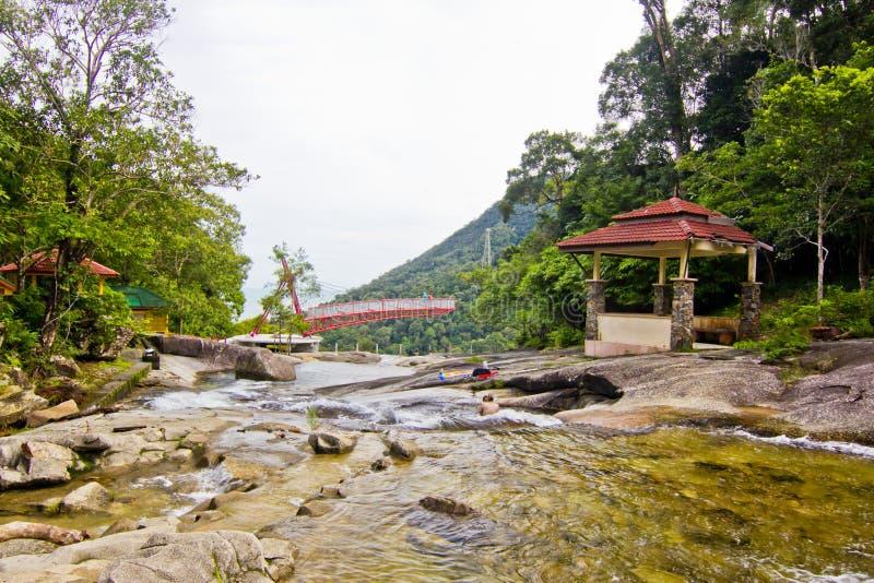De Waterval van Telagatujuh, Pulau Langkawi, Kedah, Maleisië stock fotografie