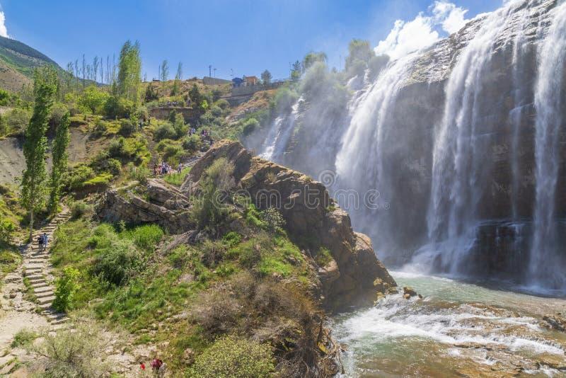 De waterval van Tortumuzundere van de kant in Uzundere, Erzurum, Turkije stock afbeeldingen