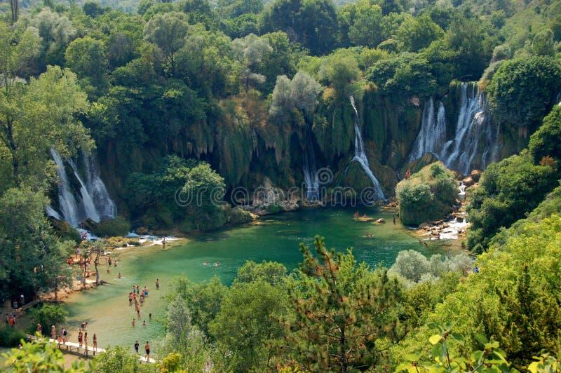 De watervallen, Bosnia en Hercegovina van Kravica stock foto