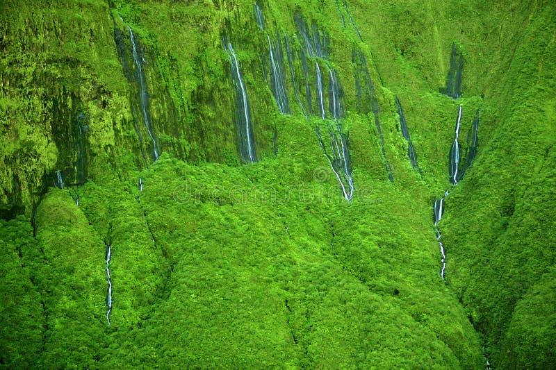 De watervallen van de ?muur van Scheuren?, Maui, Hawaï stock fotografie