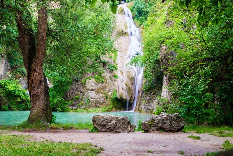 De watervallen van Kaya Bunar/Hotnitsa-in Bulgarije Toneelmening van de dalingen met twee grote rotsen en een oude boom vooraan royalty-vrije stock afbeelding