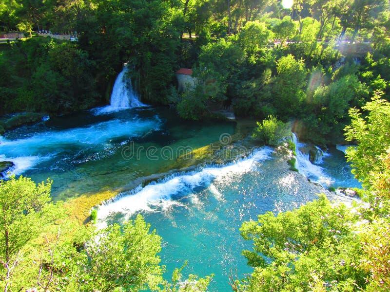 De watervallen van Krka stock foto