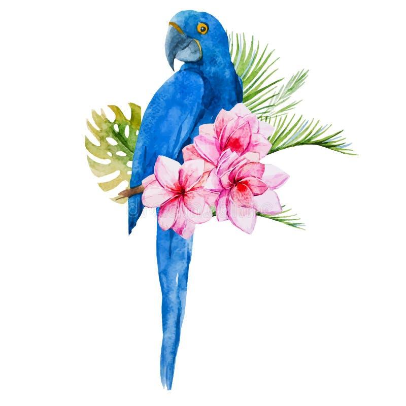 De waterverf blauwe papegaaien van Nice vector illustratie