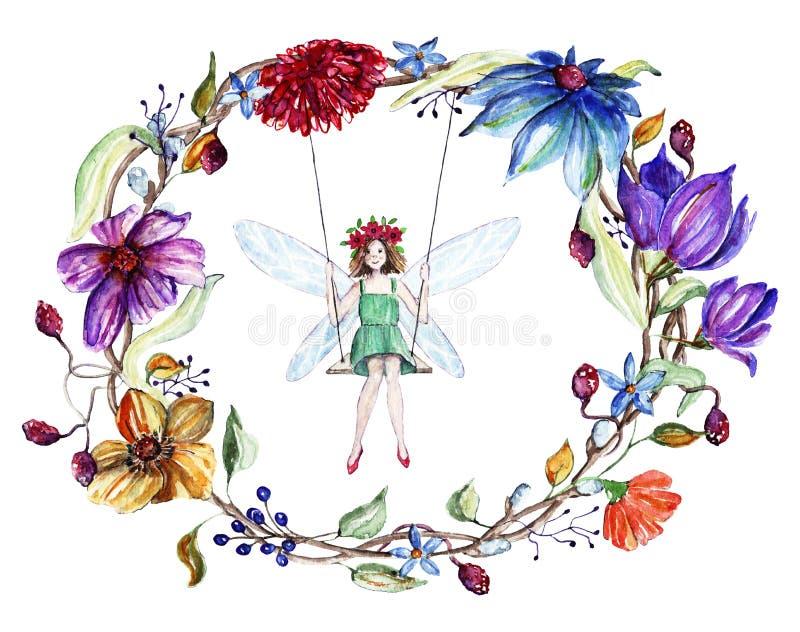 De waterverf bloeit kroon en een fee op een schommeling royalty-vrije illustratie