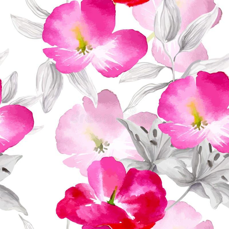 De waterverf bloeit naadloos patroon stock illustratie