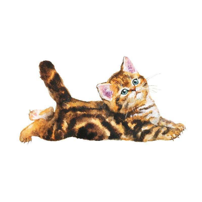 De waterverf blotched gestreepte katkatje vector illustratie