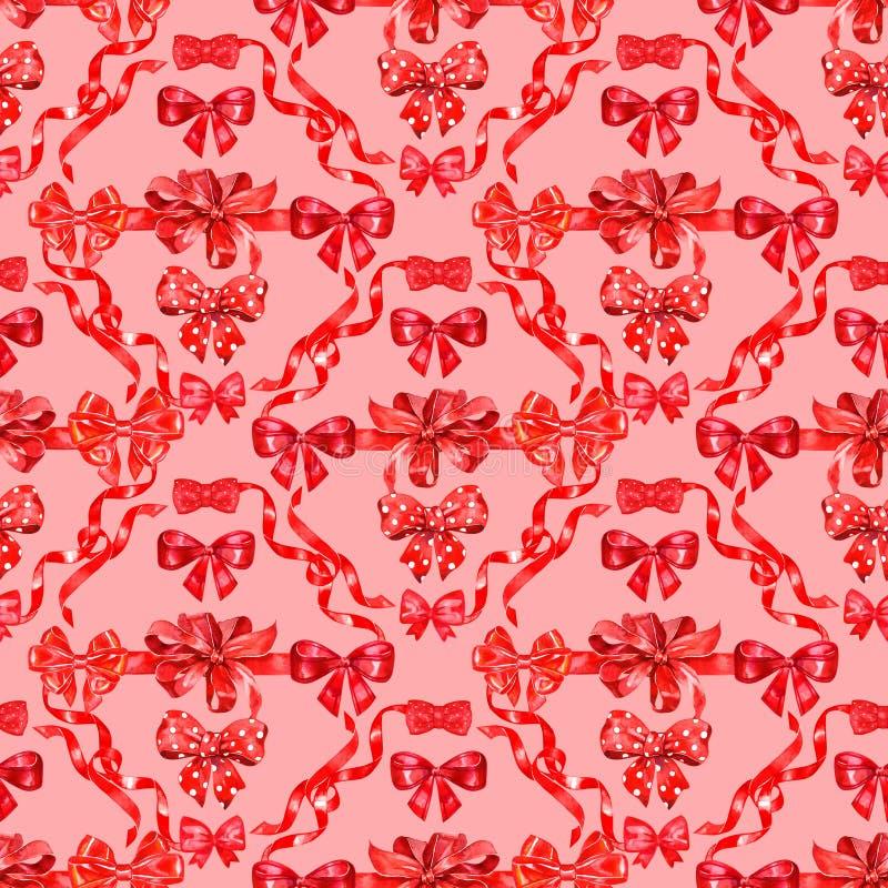 De waterverf buigt, hand getrokken rode die linten op roze achtergrond, naadloos patroon, decoratieve het schilderen illustratie  royalty-vrije illustratie