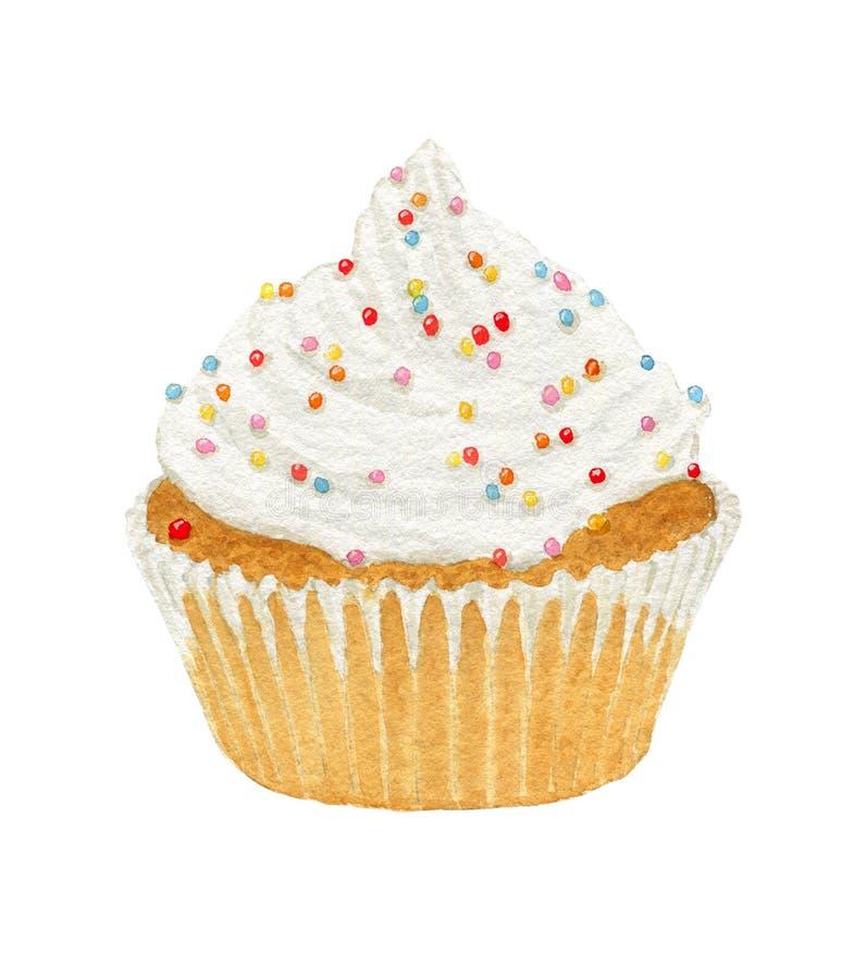 De waterverf cupcakes met room en decoratief bestrooit royalty-vrije stock fotografie